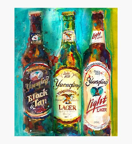 Yuengling Beer - Black and White, Lager and Light Beer Photographic Print