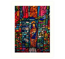 Nativity Mosaic - the Virgin Mary and Jesus Art Print