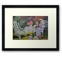 Lady and Child in Lavender Framed Print