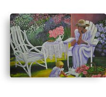 Lady and Child in Lavender Canvas Print