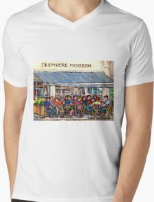 COFFEE AND PASTRIES AT PREMIERE MOISSON IN MONTREAL Mens V-Neck T-Shirt