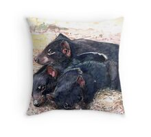 Devil of a pile up Throw Pillow