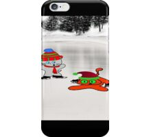 A Cat Teaches His Friend To Ice-Skate iPhone Case/Skin