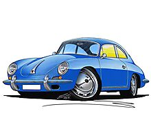 Porsche 356 C Blue Photographic Print