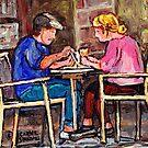 ORIGINAL MONTREAL ART SIDEWALK CAFE BREAKFAST IN THE CITY by Carole  Spandau