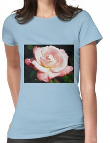 Dewy pink rose Womens Fitted T-Shirt