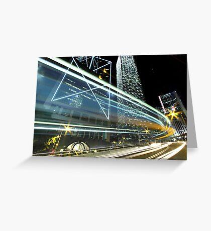 Busy traffic in Hong Kong at night Greeting Card