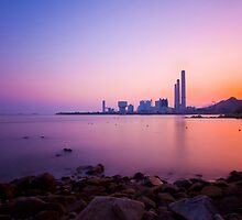 Sunset over the coast in Hong Kong by kawing921