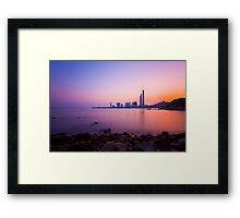 Sunset over the coast in Hong Kong Framed Print