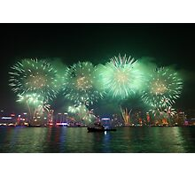 Fireworks in Hong Kong along Chinese New Year 2011 Photographic Print