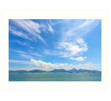 Seascape in Hong Kong at summer time, with moving clouds. Art Print