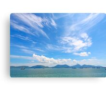 Seascape in Hong Kong at summer time, with moving clouds. Canvas Print