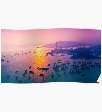 Sunset coast in container terminal and bridges  Poster