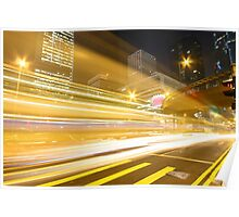 Traffic in modern city at night Poster
