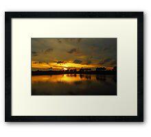 Sunset in Hong Kong at pond Framed Print