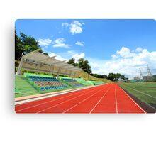 Stadium chairs and running tracks Canvas Print