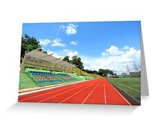 Stadium chairs and running tracks Greeting Card