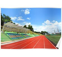 Stadium chairs and running tracks Poster