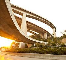 Highway and freeway at sunset in Hong Kong by kawing921