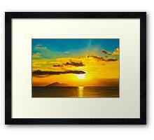 Sunset over the ocean Framed Print