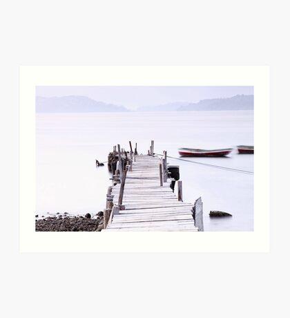 Sunset pier under long exposure, high key image. Art Print