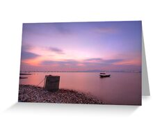 Sunset over the ocean in Hong Kong, HDR image. Greeting Card