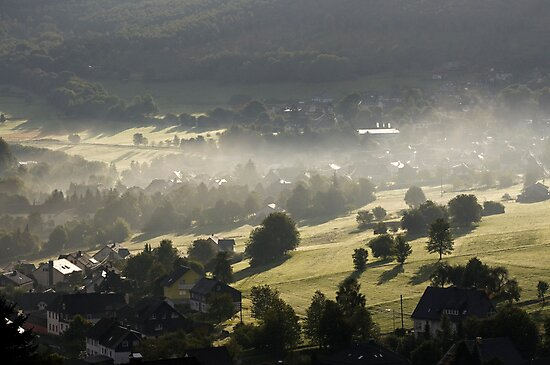 Early morning mist clearing 2, Siegerland, Germany. by David A. L. Davies