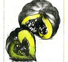 acorn squash pumpkin schoolbook art print II by Veera Pfaffli
