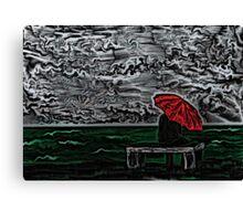 Sea Woodcut Canvas Print