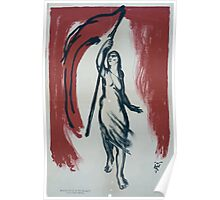 Woman carrying a red flag 1454 Poster