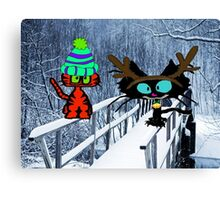 Two CatsPlay In The Snow Canvas Print