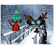 Two CatsPlay In The Snow Poster
