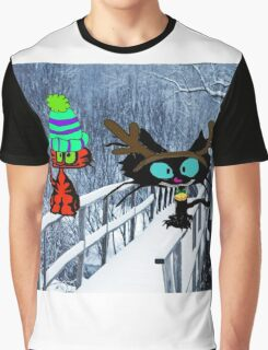 Two CatsPlay In The Snow Graphic T-Shirt