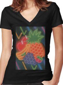 Neon Fruit Women's Fitted V-Neck T-Shirt