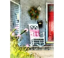 Rocking Chair With Pink Pillow Photographic Print