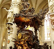 Gilded oak wood carved pulpit overall view, Brussels Cathedral.  by Grace Johnson