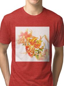 Tiger Lily - watercolour Tri-blend T-Shirt
