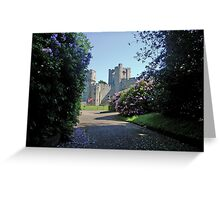 Warwick castle England, seen from floral grounds Greeting Card