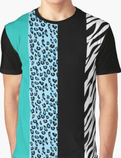 Animal Print, Zebra Stripes, Leopard Spots - Blue Graphic T-Shirt