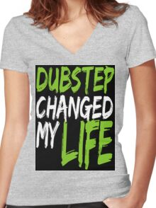 Dubstep Changed My life (black/neon green) Women's Fitted V-Neck T-Shirt