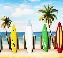 Surfboards on the beach by borines