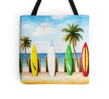 Surfboards on the beach Tote Bag