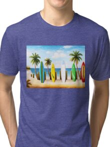 Surfboards on the beach Tri-blend T-Shirt