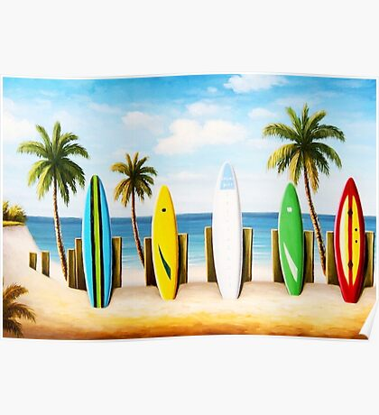Surfboards on the beach Poster