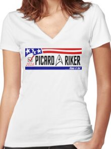 Picard - Riker a ticket you can believe in Women's Fitted V-Neck T-Shirt