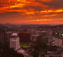 Fiery Seoul sunset by Gabor Pozsgai