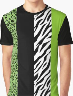 Animal Print, Zebra Stripes, Leopard Spots - Green Graphic T-Shirt