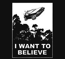 I Want To Believe in Delorean Flying T-Shirt