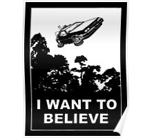 I Want To Believe in Delorean Flying Poster