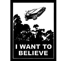 I Want To Believe in Delorean Flying Photographic Print